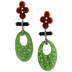 Diamonds, Emeralds, Carved Jade, Red Rubrum Coral, White Gold Dangle Earrings