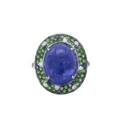 Beautiful Tanzanite and Diamond Ring