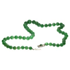 Certified Top Quality Natural A-Jadeite Necklace of 53 Beads '67.51 Grams'