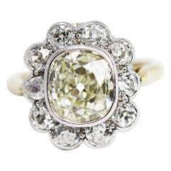 Old Mine Cushion Cut Diamond Cluster Engagement Ring