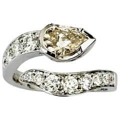 0.90 Carat Brown Pear 0.92 Carat Diamonds 18 Karat White Gold Cocktail Ring