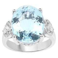 9.01 Carat Aquamarine Diamond 14 Karat White Gold Cocktail Ring