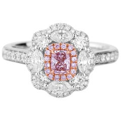 GIA Natural Fancy Pink Cushion Diamond Gold Cocktail Dress Engagement Ring