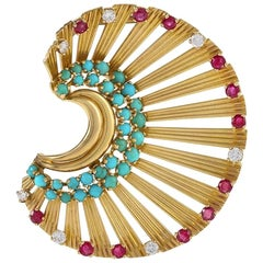 French Gold Brooch with Turquoise, Diamond and Ruby by Janca
