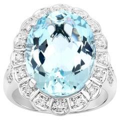 9.51 Carat Aquamarine Diamond 14 Karat White Gold Cocktail Ring