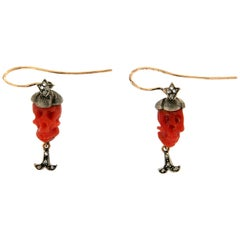 Coral Skulls 14 Karat Yellow Gold and Silver Diamonds Drop Earrings