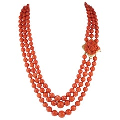 Magnificent Triple Strand Natural Mediterranean Coral Necklace