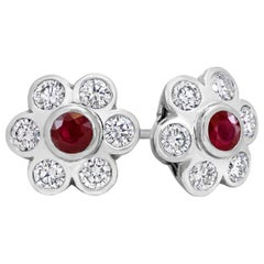 Roman Malakov, Ruby and Diamond Flower Earrings