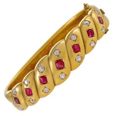 Victorian Gold Bangle Bracelet with Diamonds and Rubies
