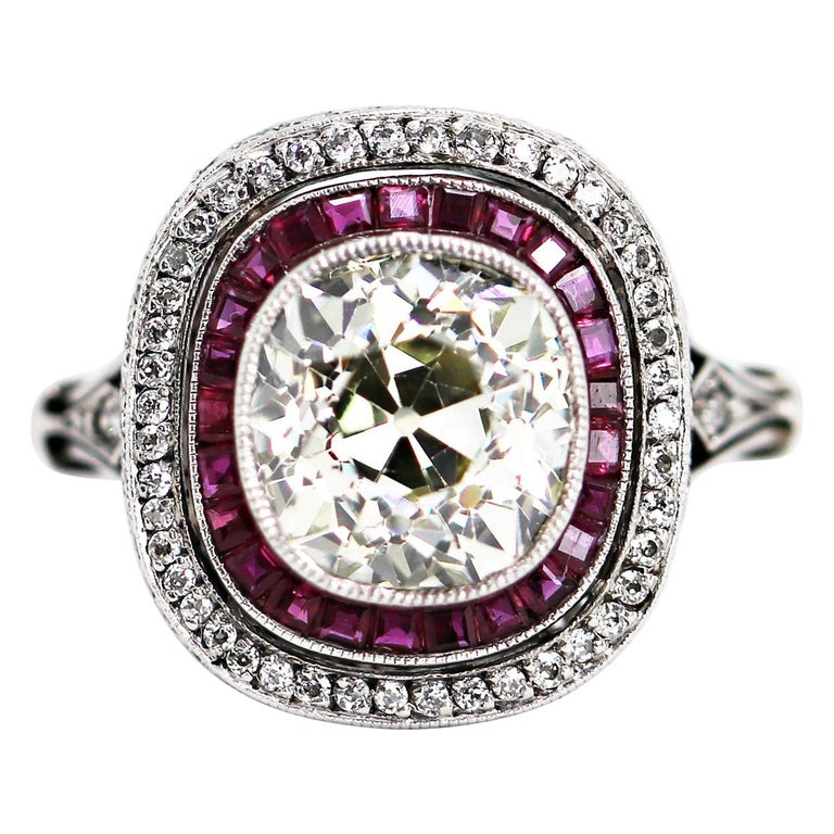 Old Cushion Cut Diamond and Ruby Engagement Ring For Sale