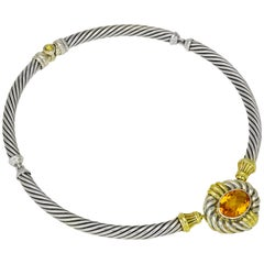 David Yurman Sterling Silver and Citrine Collar Necklace