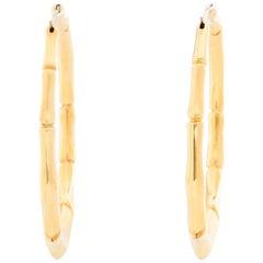Gucci 18 Karat Yellow Gold Bamboo Hoop Earrings