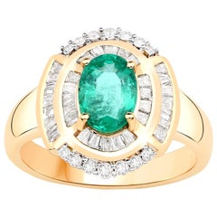 1.25 Carat Zambian Emerald Diamond 14 Karat Yellow Gold Cocktail Ring