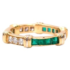 Cartier Vintage Diamond, Emerald and Gold Full Circle Eternity Ring