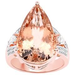 14.41 Carat Morganite Diamond 14 Karat Rose Gold Cocktail Ring