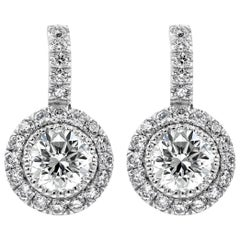 Vintage-Style Round Diamond Halo Drop Earrings