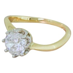 Midcentury 1.27 Carat Old Cut Diamond Twist Ring