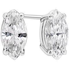 0.84 Carat Marquise Cut Diamond Stud Earrings