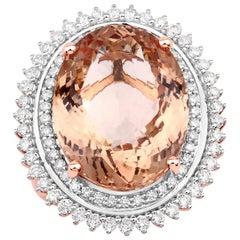 14.73 Carat Morganite Diamond 14 Karat Rose Gold Cocktail Ring