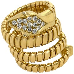 18 Karat Yellow Gold Italian Tubogas Style Ring