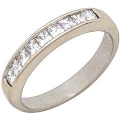 14 Karat White Gold .75 Carat Princess Cut Channel Set Diamond Wedding Band Ring
