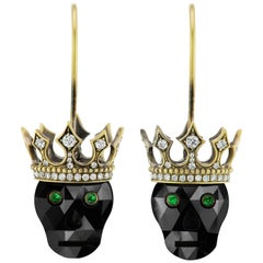 Wendy Brandes Gold Tiara Rare Fancy-Cut Skull 9.54 Carat Black Diamond Earrings