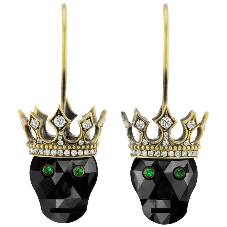 Wendy Brandes Memento Mori Black Diamond Skull Earrings With Crowns For Sale