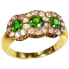 Antique Russian Demantoid Garnet and Diamond Ring
