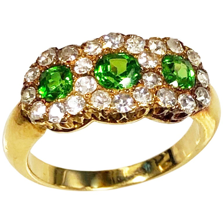 Antique Russian Demantoid Garnet and Diamond Ring For Sale