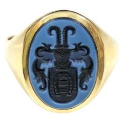 Antique Gentleman's Gold and Hard Stone Intaglio Signet Ring