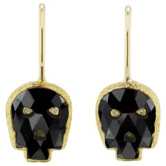 Wendy Brandes Gold Rare Fancy-Cut Skull 2.54 Carat Black Diamond Drop Earrings