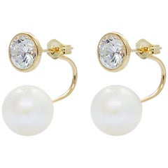 Bezel Set Cubic Zirconia and AAA Quality Pearl Tribal Earrings on 14 Karat Gold