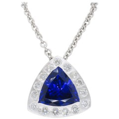 Certified Tanzanite and Diamond Pendant Necklace