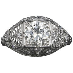Art Deco Platinum 1.4 Carat Old European Diamond Engagement Ring