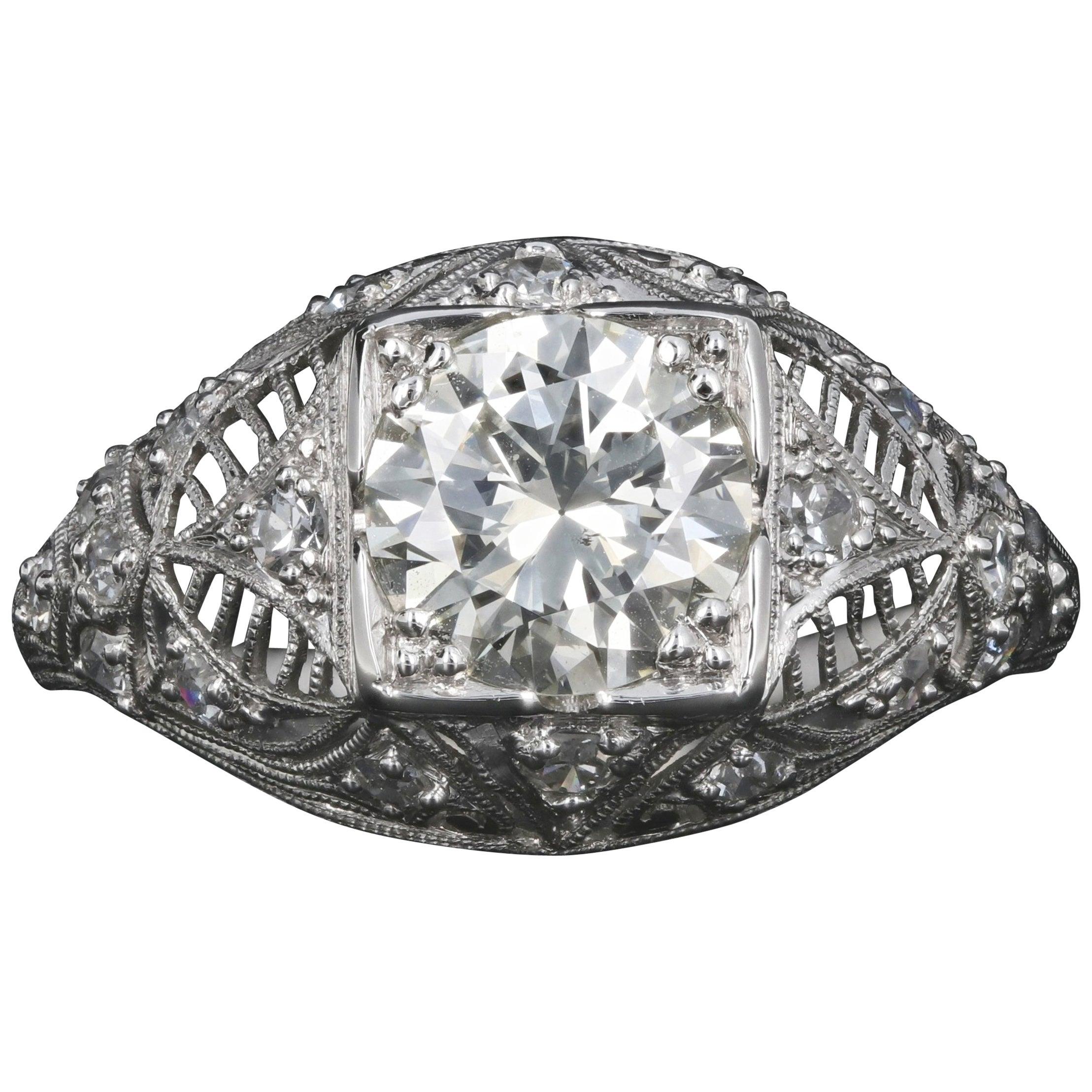 Art Deco Platinum 1.4 Carat Old European Diamond Engagement Ring