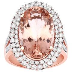 7.69 Carat Morganite Diamond 14 Karat Rose Gold Cocktail Ring