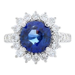 Emteem Lab Certified 3.58 Carat Blue Sapphire And Diamond Cocktail Ring In 18K