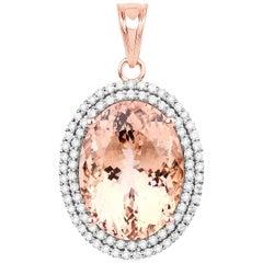 16.19 Carat Morganite Diamond 14 Karat Rose Gold Pendant