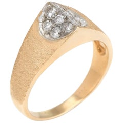 Vintage Pointed Diamond Ring 14k Yellow Gold Estate Fine Jewelry Satin Finish