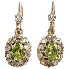 Peridot Diamond Cluster Earrings, 19th Century