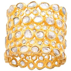 Rose Cut White Diamond Eternity 18 Karat Yellow Gold Band Ring