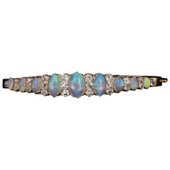 18 Karat Rose Gold Victorian Opal and 2 Carat Old Mine Cut Diamond Bracelet