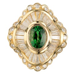 GIA Certified 1.38 Carat Tsavorite Garnet Diamond Gold Cocktail Ring