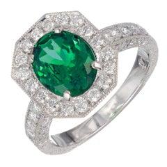 Peter Suchy GIA Certified 1.85 Carat Tsavorite Garnet Diamond Platinum Ring