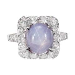 GIA Certified 7.40 Carat Star Sapphire Diamond Platinum Ring