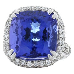 14.93 Carat Cushion Cut Tanzanite And Diamond Cocktail Ring In 18 K White Gold