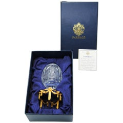 Star of the North Faberge Egg Crystal with Sterling Silver Gold-Plated Base