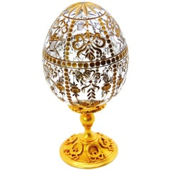 Star of the North Faberge Crystal Egg with Sterling Silver Gold-Plated