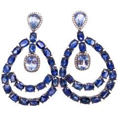 Ruchi New York Chandelier Blue Sapphire Earrings