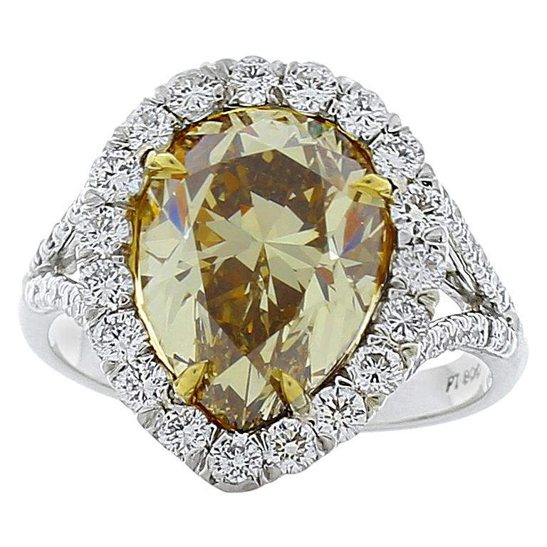 GIA Certified 4.68 Carat Pear Shape Fancy Brownish Yellow Diamond Cocktail Ring For Sale